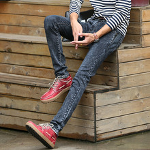 2016 New Casual Mens Elastic Jeans Skinny Stripe Solid Straight Slim Mens Biker Jeans Mid Full Length Jeans Homme Brand Quality