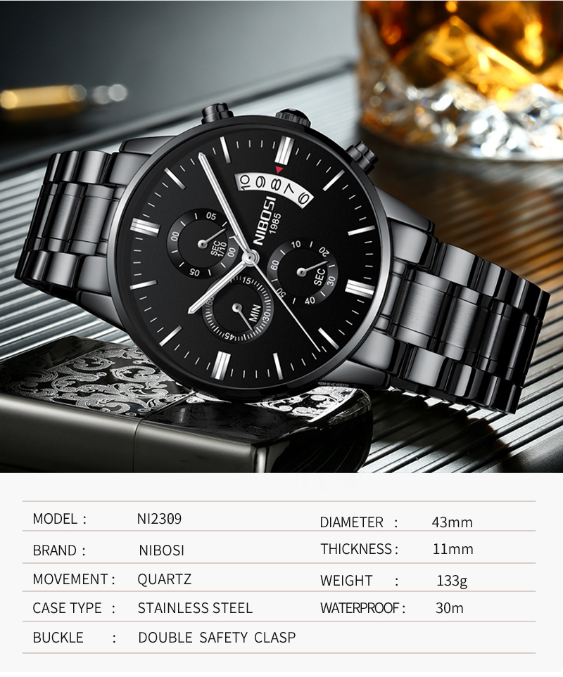 2018 NIBOSI Gold Quartz Watch Top Brand Luxury Men Watches Fashion Man Wristwatches Stainless Steel Relogio Masculino Saatler    (4)