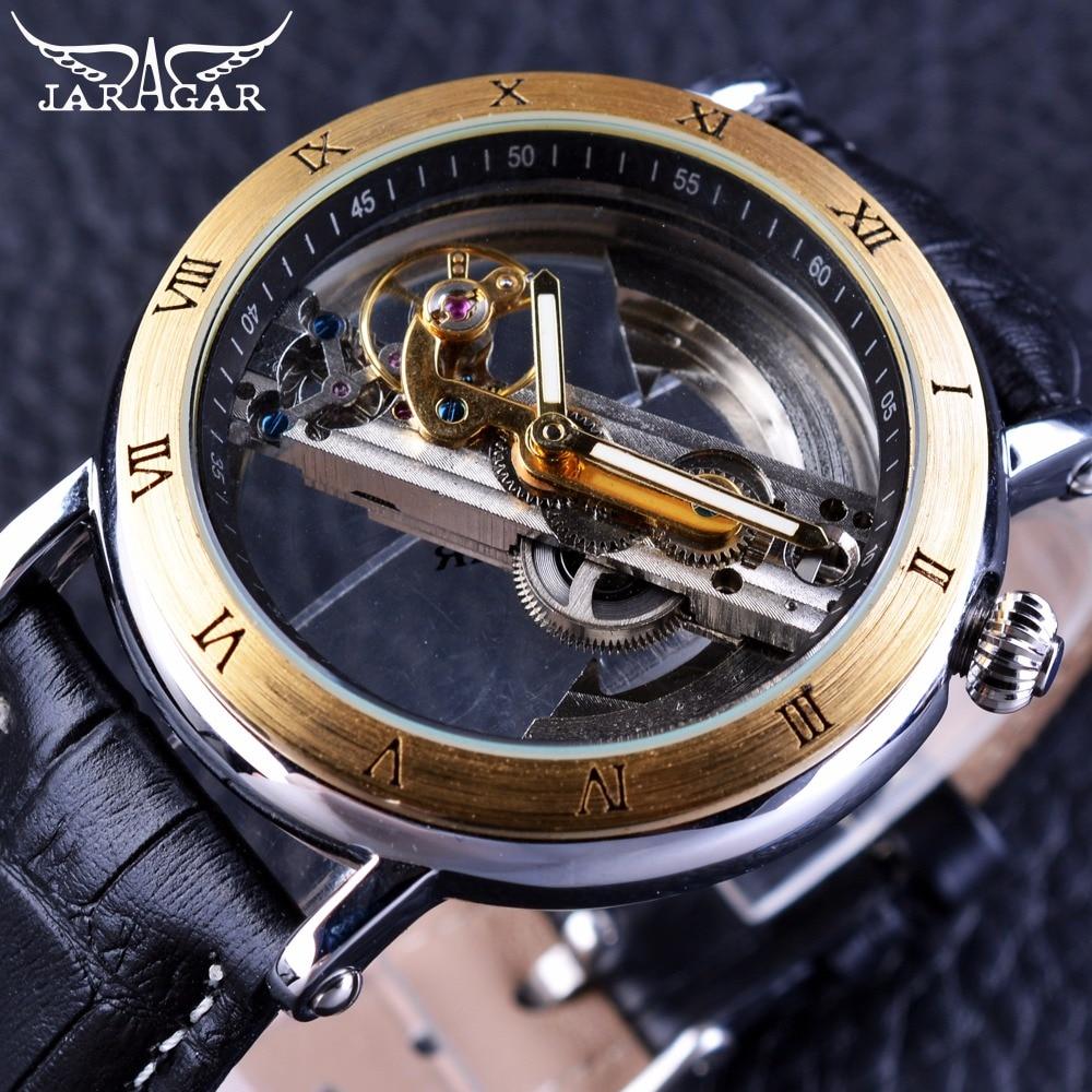 Jaragar Retro Minimalist Transparent Automatic Movement Waterproof Genuine Belt Fashion Mechanical Mens Watches Top Brand Luxury