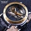 Jaragar Retro Minimalist Design Transparent Automatic Movement Genuine Belt Fashion Mechanical Mens Watches Top Brand Luxury