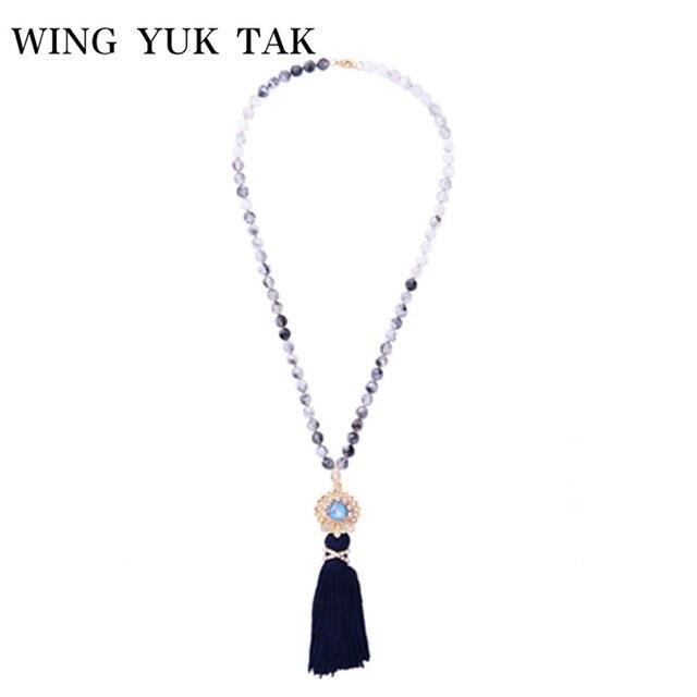Wing yuk tak New Arrival Simulated Trân Flower Dài Tassel Mặt Dây Chuyền Vòng Cổ Hợp Thời Trang Handmade Baroque Hạt Vòng Cổ Miễn Phí Vận Chuyển