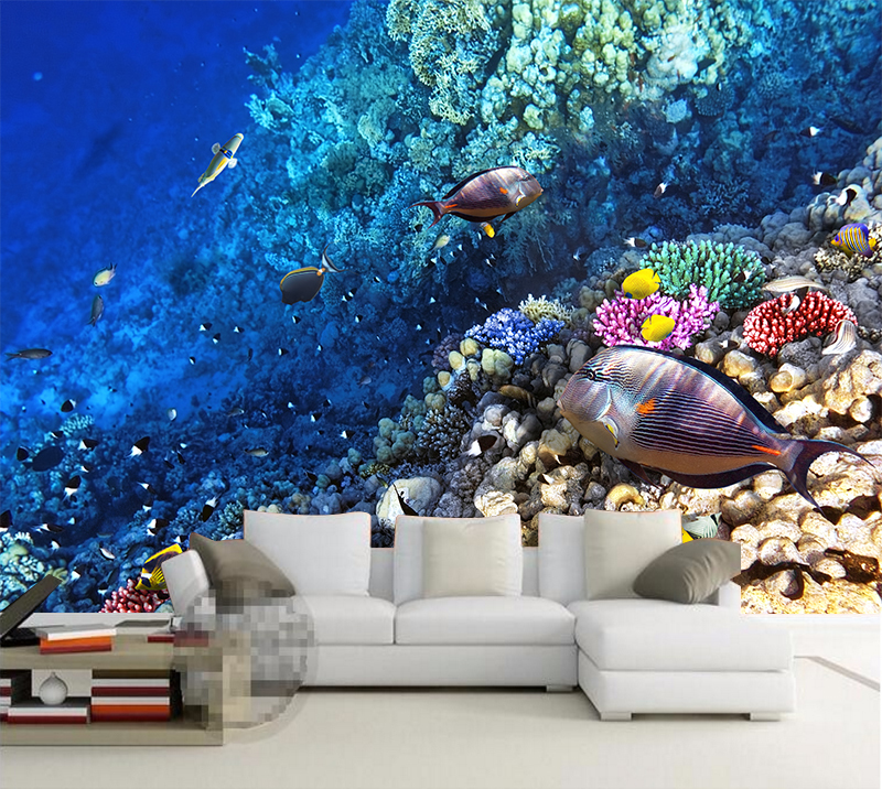 Custom Photo Wallpaper 3D Stereo Underwater World Of Marine Fish Living Children'S Room TV Background Wall Sticker