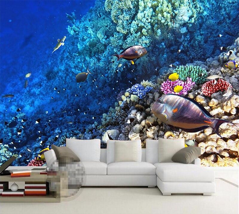 Papel pintado personalizado 3D estéreo subacuático mundo de peces marinos sala de niños TV Fondo pared pegatina