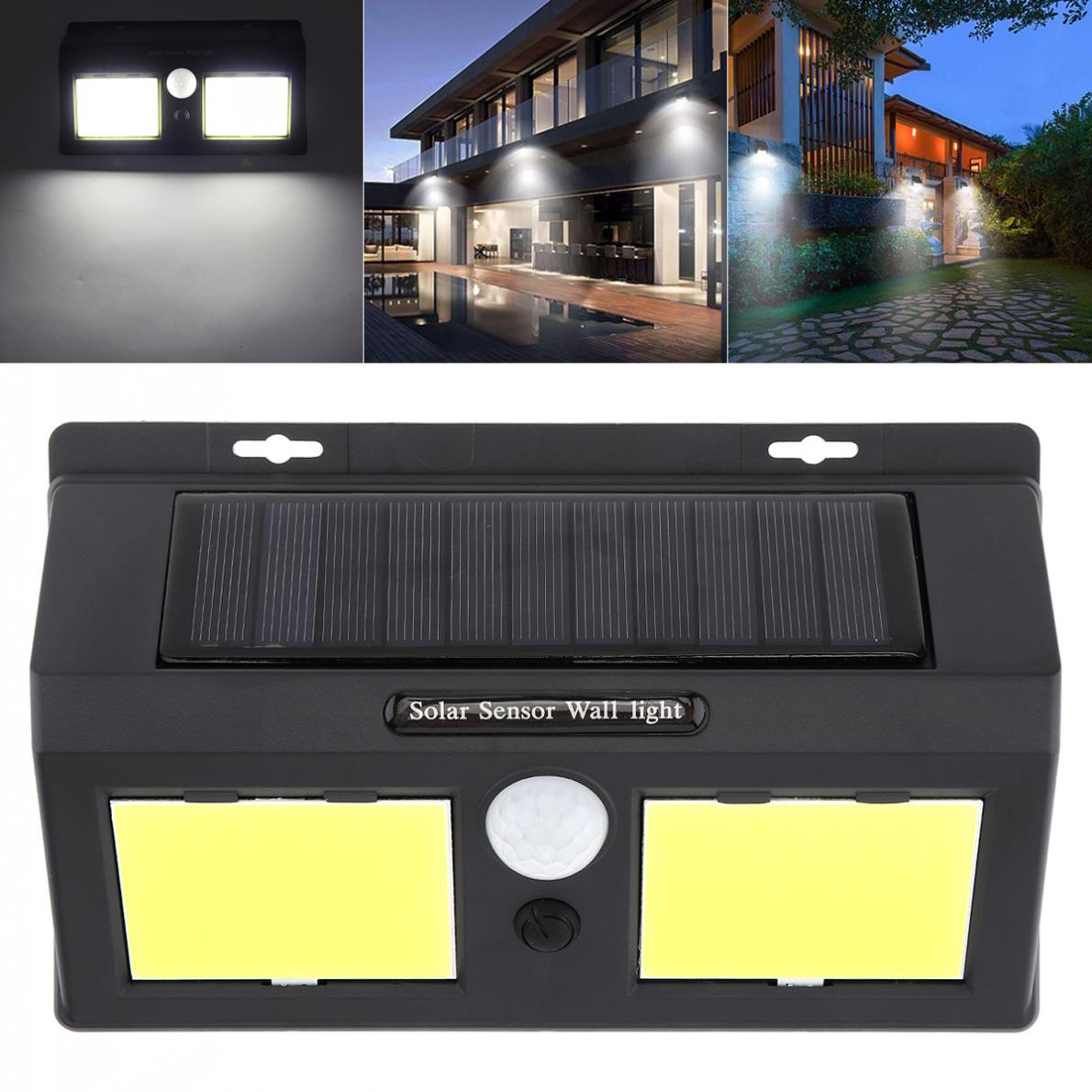 Outdoor Conjoined Double 96 COB LED Rechargeable Solar Power PIR Motion Sensor Wall Light for Garden Yard Driveway Courtyard