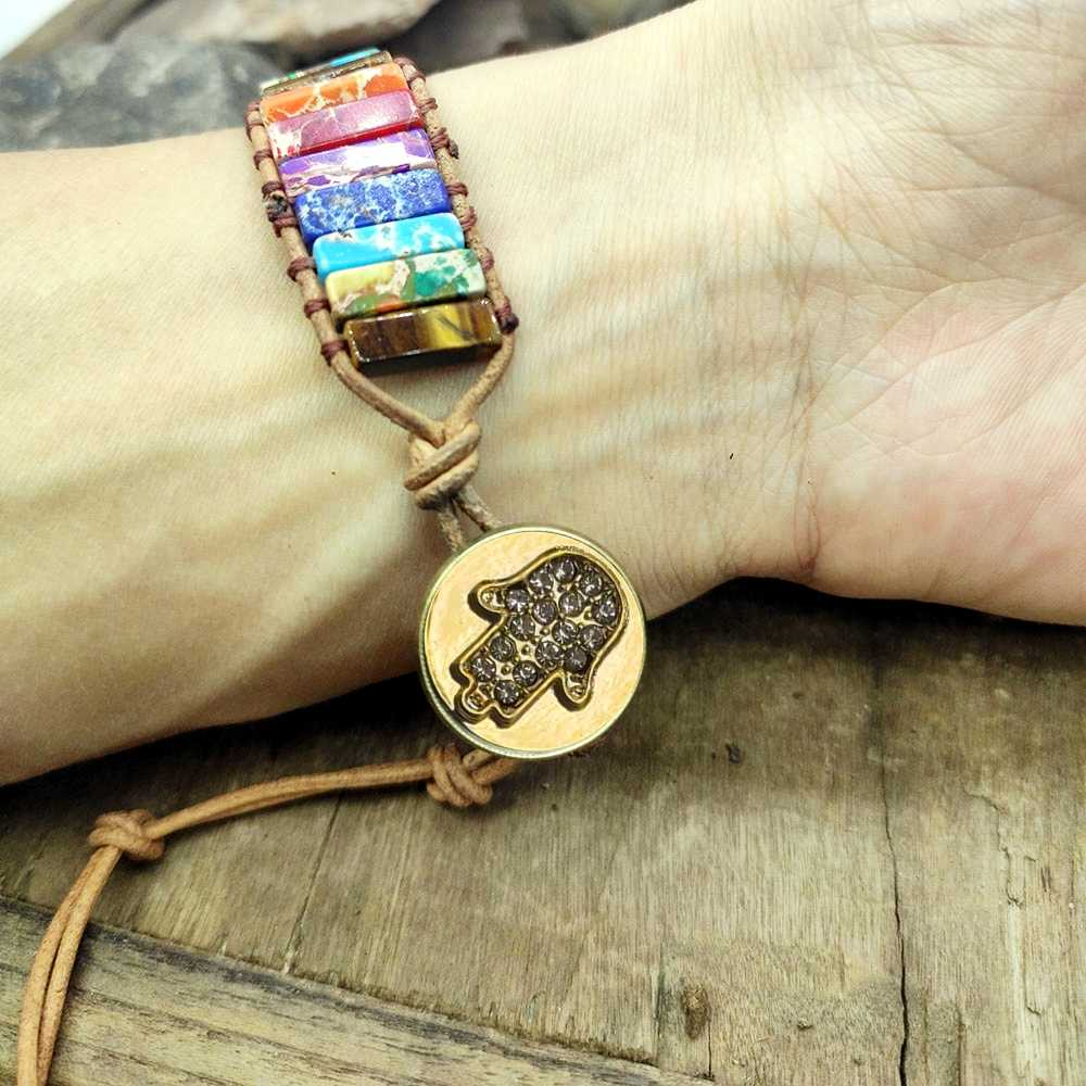 magic hand Chakra Bracelet jewelry Natural Stone Tube Beads Leather Wrap Bracelet Couples Bracelets Creative Gifts dropship