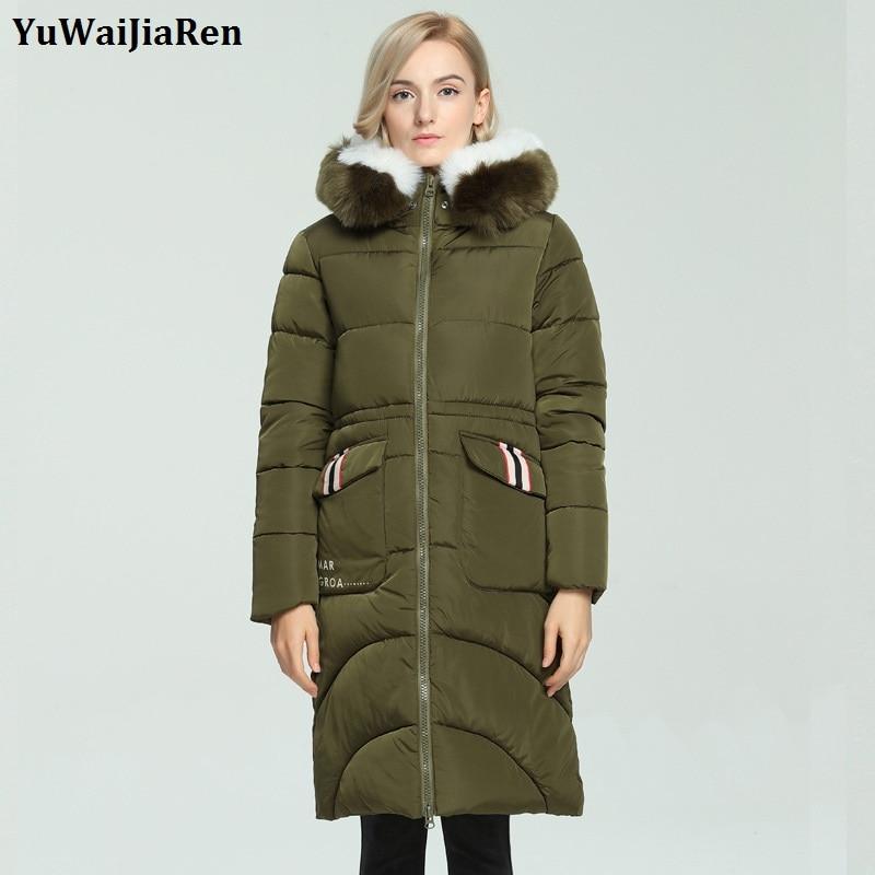 YuWaiJiaRen Winter Coat Women Warm Parka Hooded Jacket High Quality Fashion Long Thick Slim Army Green Cotton-padded Outerwear цены онлайн