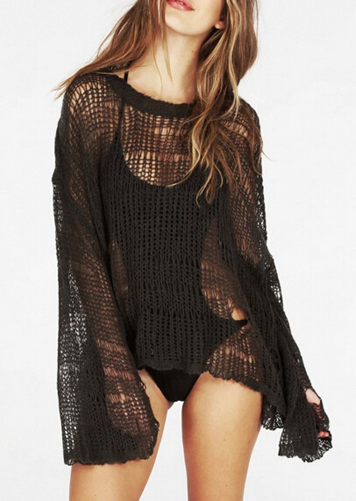 Loose Knitted Crochet Sweater