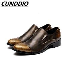 Cunddio британский черный натуральная кожа мужские торжественное платье оксфорды острым Чистый Цвет Мода