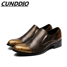CUNDDIO British Black Genuine Leather Men Formal Dress Oxfords Pointed Pure color Fashion