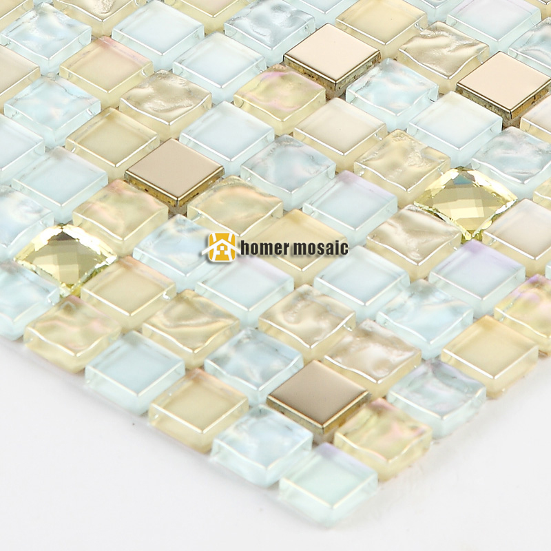 Gold plating yellow crystal glass mosaic tiles for living room kitchen backsplash bathroom fireplace mosaic free shipping
