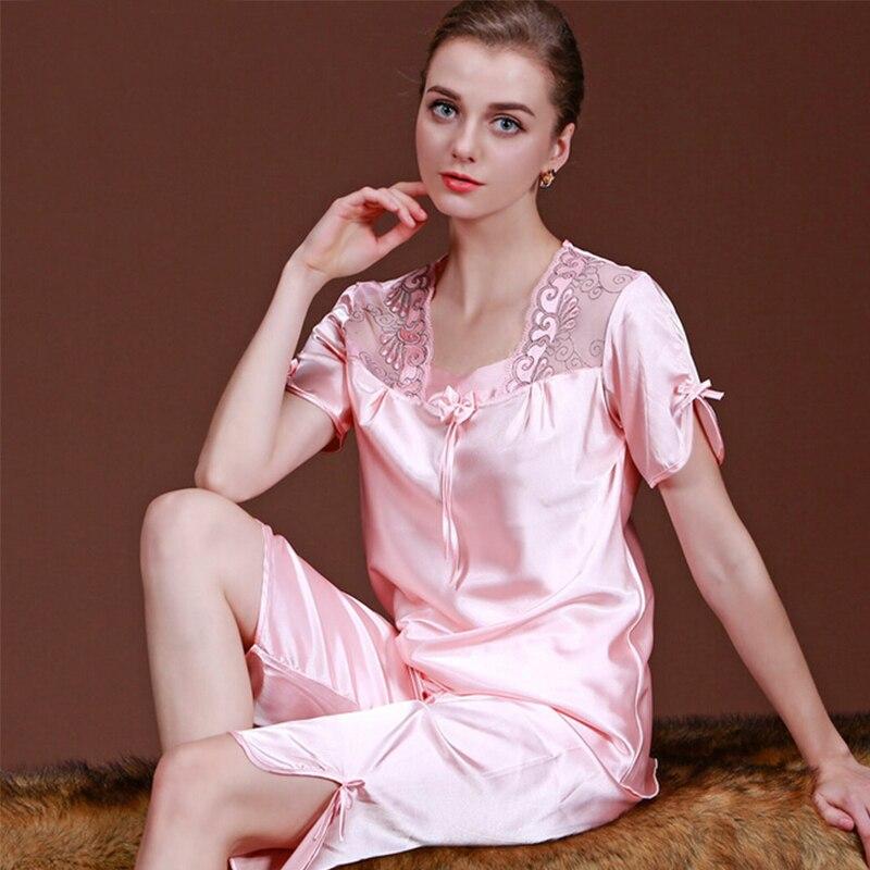 sexy women's lace silk satin pajamas sets free shipping 2017 new design short pants pyjamas sets suspenders pijamas sets