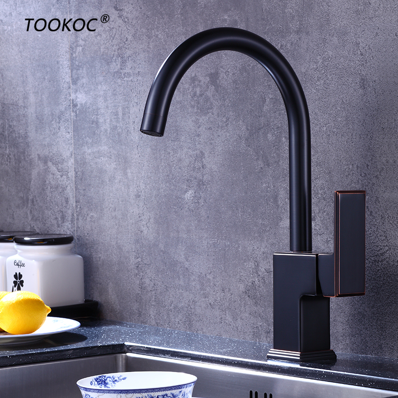 TOOKOC Black Hot and Cold Water kitchen sink faucet Water mixer Tap 360 Degree tookoc black hot and cold water kitchen sink faucet water mixer tap 360 degree