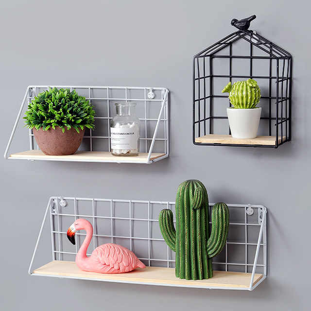 Wall Mounted Storage Rack Wrought Iron Grid Wooden Wall