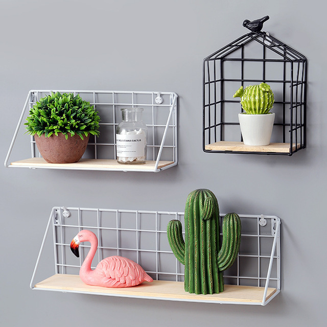 wall mounted storage rack wrought iron grid wooden wall shelf