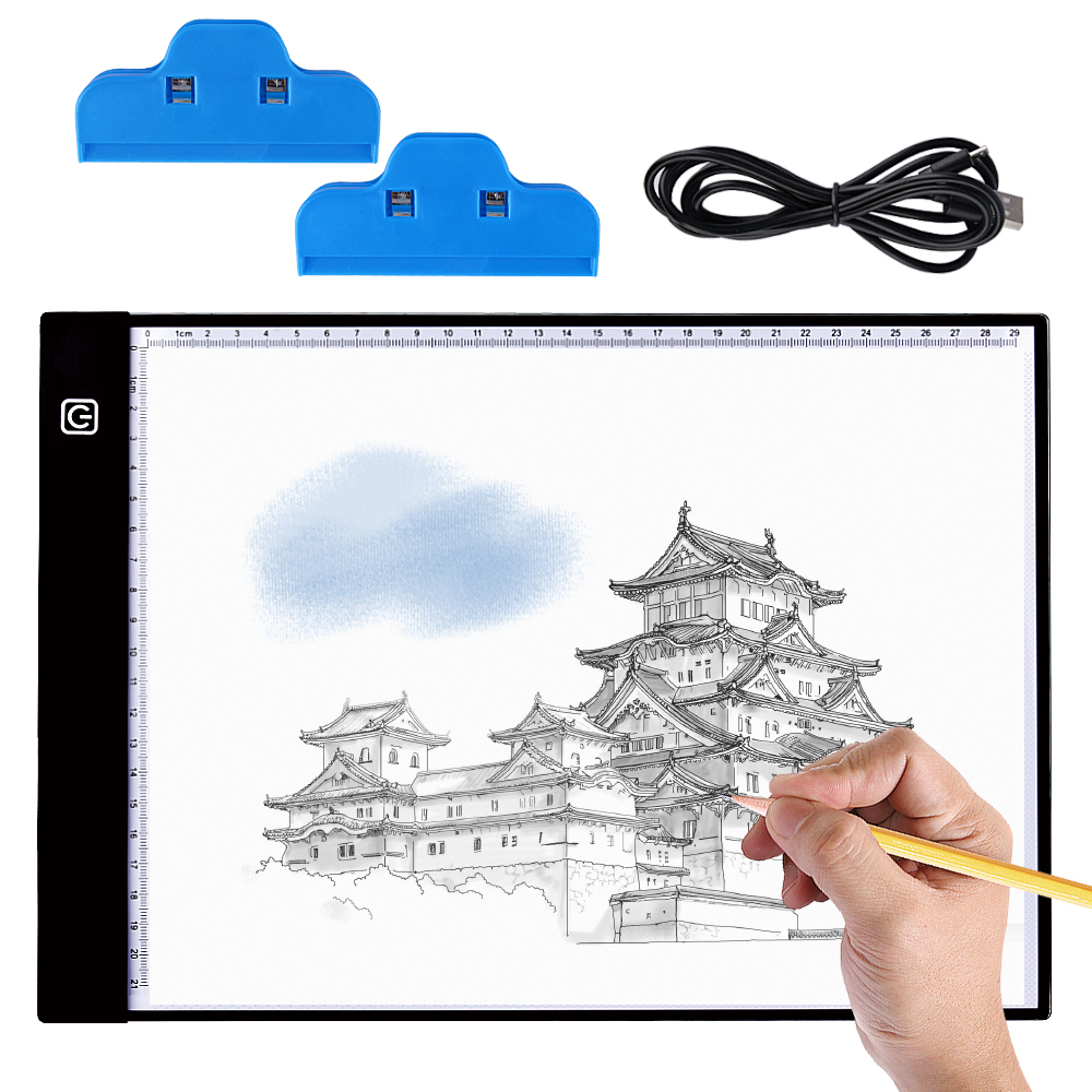 Needle Arts & Crafts Capable A4 Light Box Led Tracing Light Pad Stepless Dimming Drawing Tablet Eye-protection Pad For Diamond Embroidered Cross Stitch