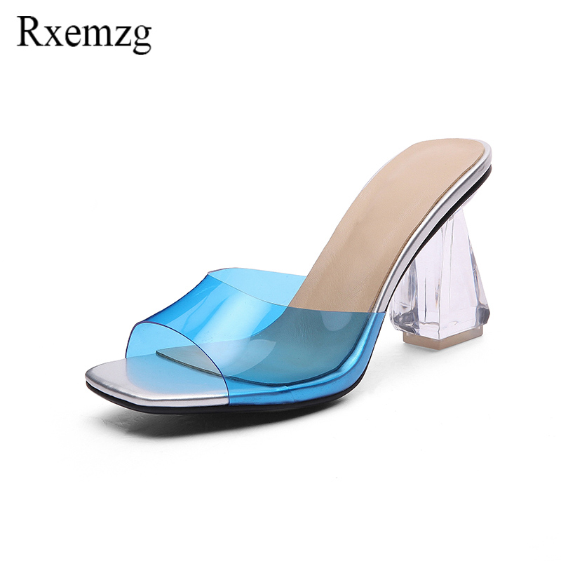 Rxemzg summer shoes woman fashion sandals transparent high heels peep toe slip on PVC crystal shoes