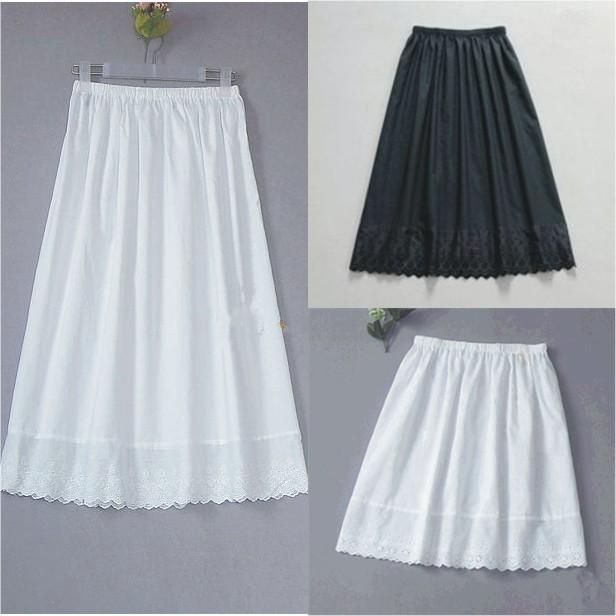 Women's Cotton Half Slip with Lace