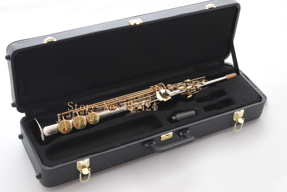 French High-pitch Bb R54 Soprano Saxophone Straight one B Flat Nikel gold plated Saxe Musical Instrument sax Saxofone big promotionsts r54 b selmer tenor saxophone musical instrument antique brass wire drawing sax
