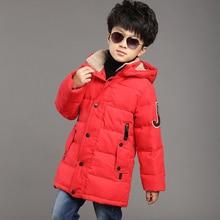 Дети мальчики зимняя куртка вниз хлопок проложенный thickenging теплые дети верхняя одежда пальто водонепроницаемый ветрозащитный капюшоном мальчик зимнее пальто