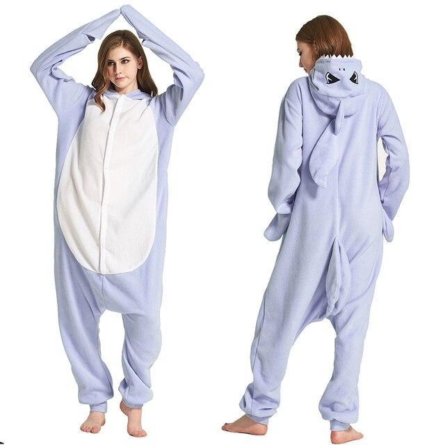 ebbde15e04 Man Polar Fleece Shark Onesies Pijamas Costume Winter Sleepwear Adult  Cartoon Cosplay pajamas Halloween costume for Woman