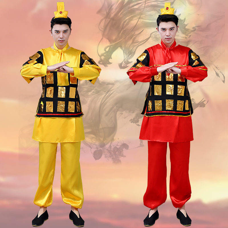 Male Hanfu Men Cosplay Ancient Commanding Red Soldiers Clothing Performing Yellow Stage Costumes Drama Theme Cosplay Wear BL1818