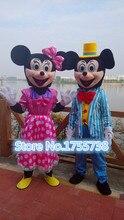 Brand new  Blue Mic&key Pink Minnie mascot costumes Adult Size Cartoon Mascot Costumes Free shipping