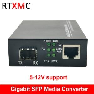 SFP Fiber to RJ45 Gigabit Media Converter SFP 10/100/1000M Ethernet Converter Transceiver fiber optical switch 5-12V Support(China)