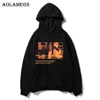 Aolamegs Hoodies Men Japanese Printed Hood High Street Pullover Sweatshirt Men Fashion Hip Hop Streetwear Hoodie Autumn Winter hoodie