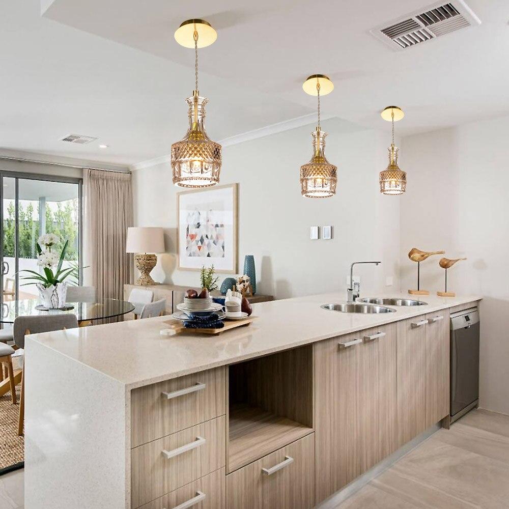 LEDERTEK Wine Bottle Pendant Light Retro Vintage Glass Lampshade Loft Pendant Lamp E27 110V 220V Lustres Hanging Kitchen Fixture