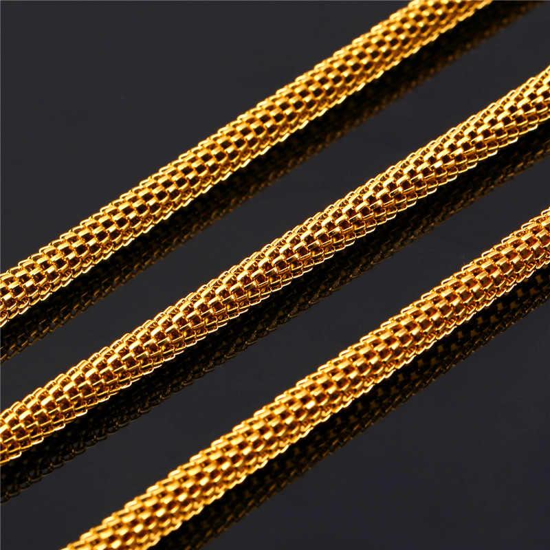 Lưới Chuỗi Vòng Cổ Mát Người Đàn Ông của Đồ Trang Sức Bán Buôn 5 MM 55 CM/66 M 316L Thép Không Gỉ/Vàng màu sắc Vòng Vòng Cổ GN1605