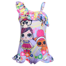 New LOL children's swimwear girls one-piece swimsuit children's small children's doll baby cartoon swimsuit