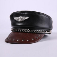 Men Genuine Leather Military Hat Male Fashion Chain Flat Top Army Hats Men Natural Leather Cap