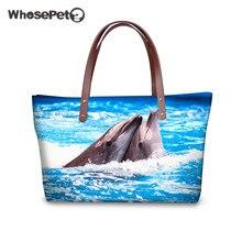 WHOSEPET 3D Dolphin Pinguin Druck für Frauen Umhängetasche Mode Große Kapazität Hohe Qualität Beiläufige Handtaschen Reisetaschen