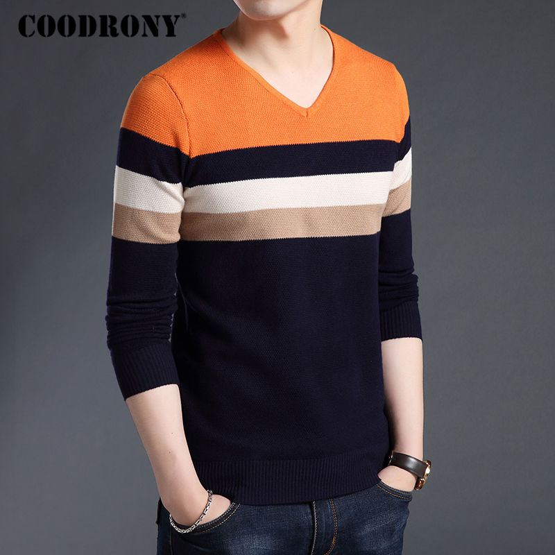 a1d0d233d13 COODRONY Sweater Men Clothes 2018 Autumn Winter Thick Warm Cashmere Wool  Sweaters Casual Striped V Neck Pullover Men Jersey 8117-in Pullovers from  ...