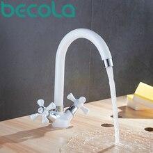 Бесплатная доставка современная двойной ручкой поворотный белый кухонный кран горячей и холодной воды латунь смеситель для мойки BR-9139