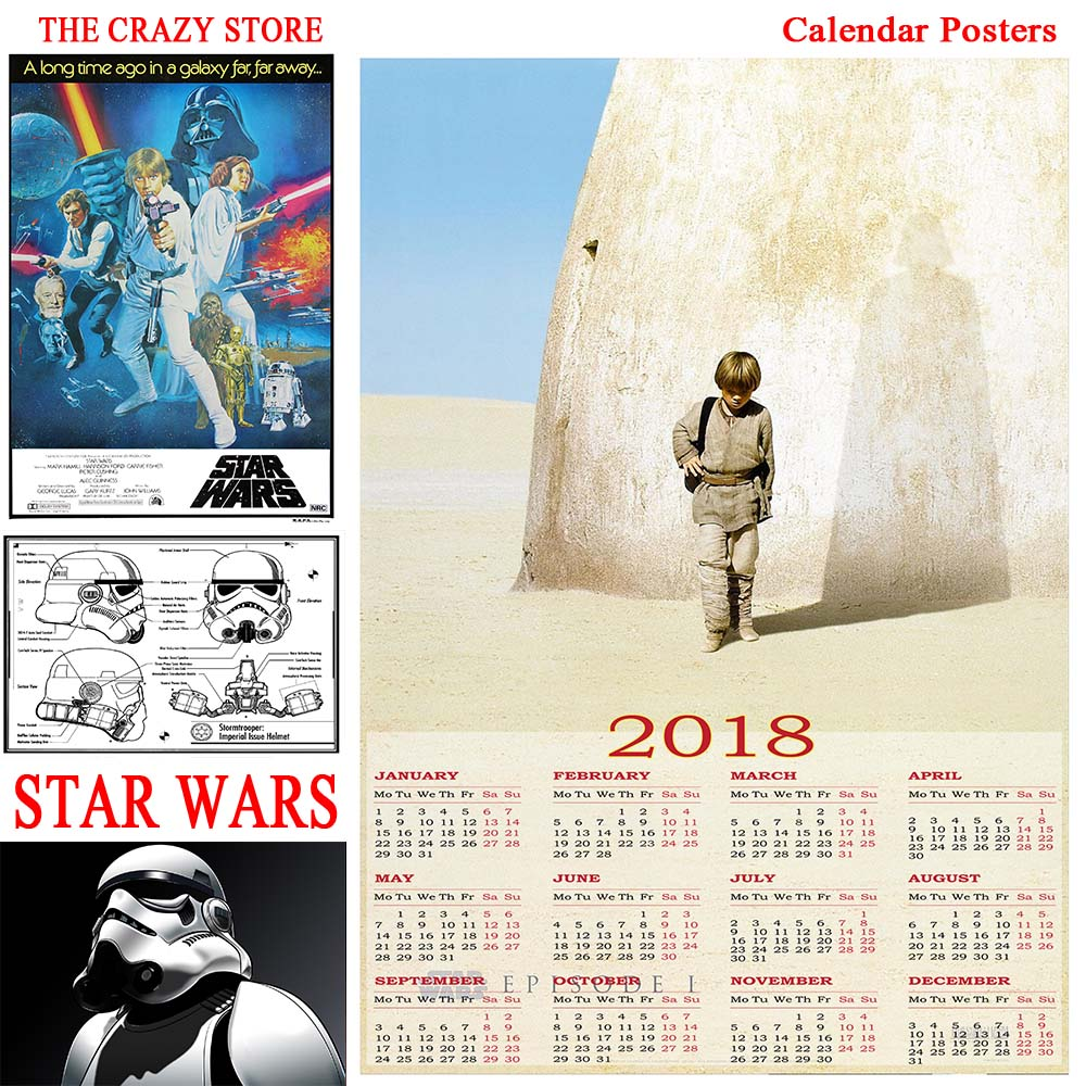 2018 Calendar Vintage : Star wars calendar poster vintage retro movie antique