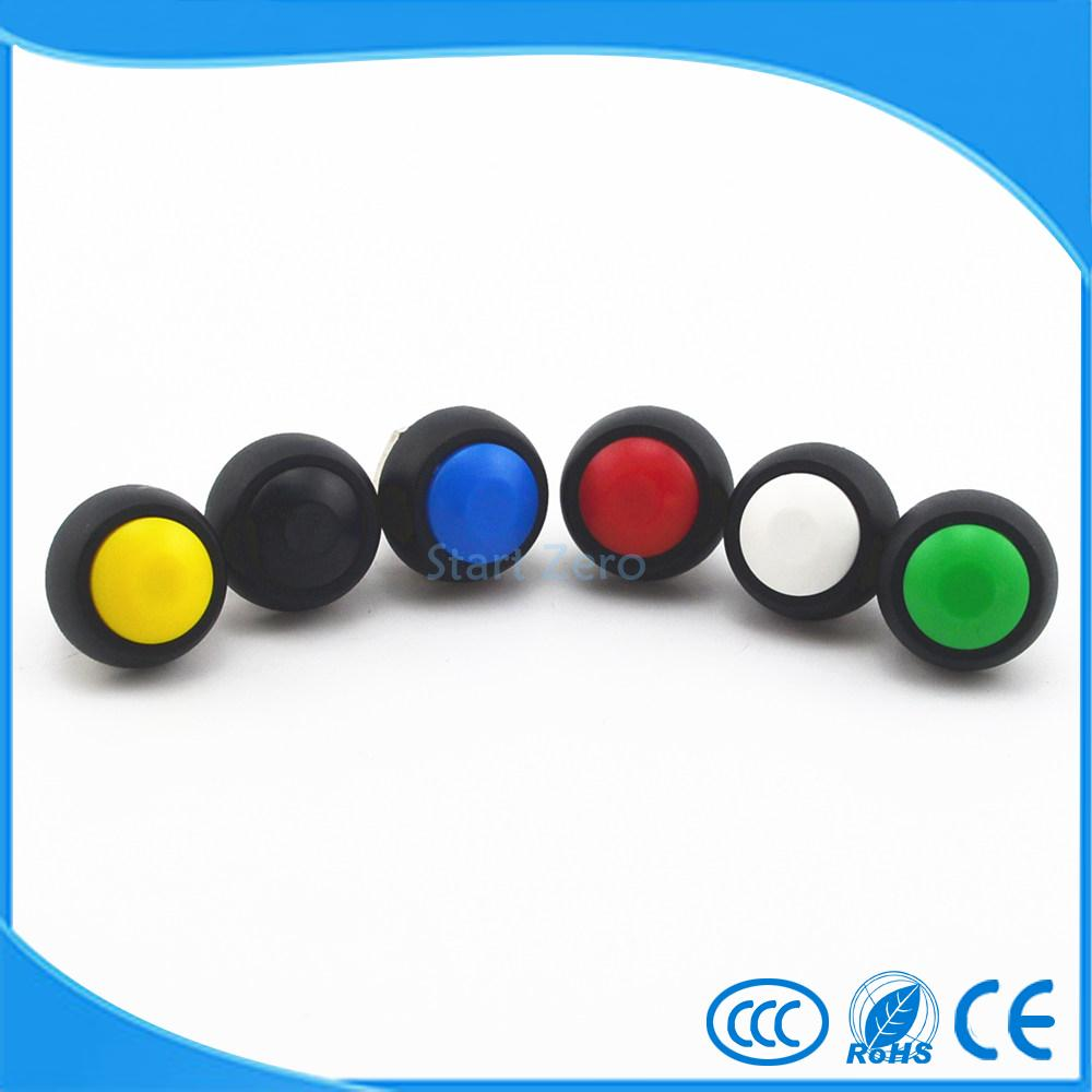 5Pcs Black/Red/Green/Yellow/Blue 12mm Waterproof Momentary Push button Switch 250V 3A 5pcs 12mm 3v blue led metal momentary 4pin mini push button switch 1no 2a 250vac