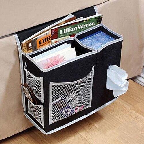 6 Pockets Bedside Storage Mesh Mattress Book Remote Hanging Organizer Caddy Bag