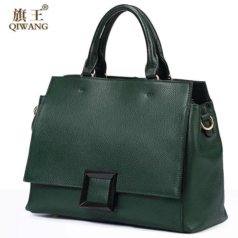 a0b125be40be Qiwang сумка из натуральной кожи Модная Зеленая кожаная сумка 100%  натуральная кожа Женская Роскошная элегантная