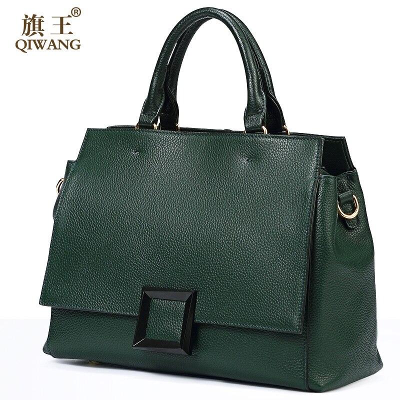 Qiwang Réel sac en cuir De Mode Vert sac en cuir 100% Véritable Sac À Main En Cuir Femmes De Luxe Élégant Célèbre Marque sac à boucle