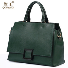 Qiwang Real Leather Bag Cow Leather Bag 100% Genuine Leather Handbag Cross body Elegant  Buckle Bag 2017 Сумка