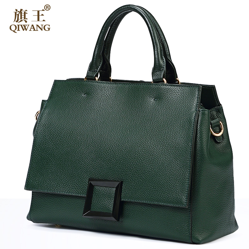 Qiwang Reale Sacchetto di Cuoio di Modo Borsa In Pelle Verde 100% Borsa Del Cuoio Genuino Delle Donne di Lusso Elegante di Marca Famosa Fibbia Borsa