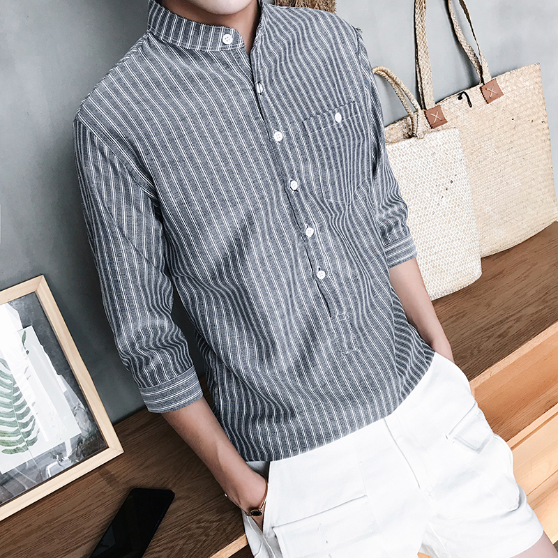 Hot Sale Spring Men Shirt Long Sleeved Striped Solid Plaid Male Business