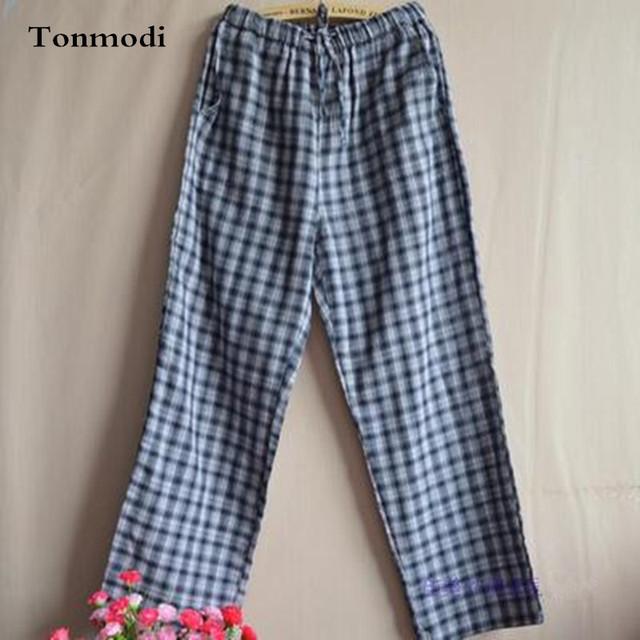 Pantalones de pijama Mujer Primavera Y Otoño Sueño de Amor de Algodón de Gasa Doble Salón Par de Pantalones de Tela Escocesa de Los Hombres de Las Mujeres Del Sueño Bottoms