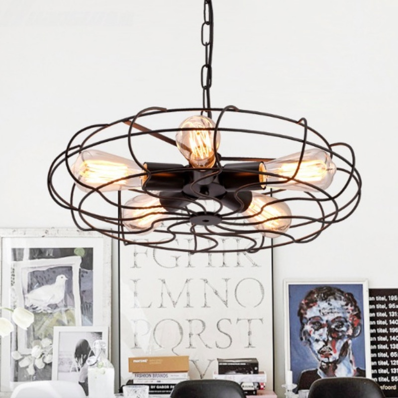 Vintage Industrial Black Iron Fan Design Led E27*5 Chain Pendant Light for Dining Room Restaurant Bar Decor Lamps