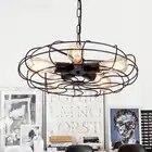 Vintage Industrial Black Iron Fan Design Led E27*5 Chain Pendant Light for Dining Room Restaurant Bar Decor Lamps