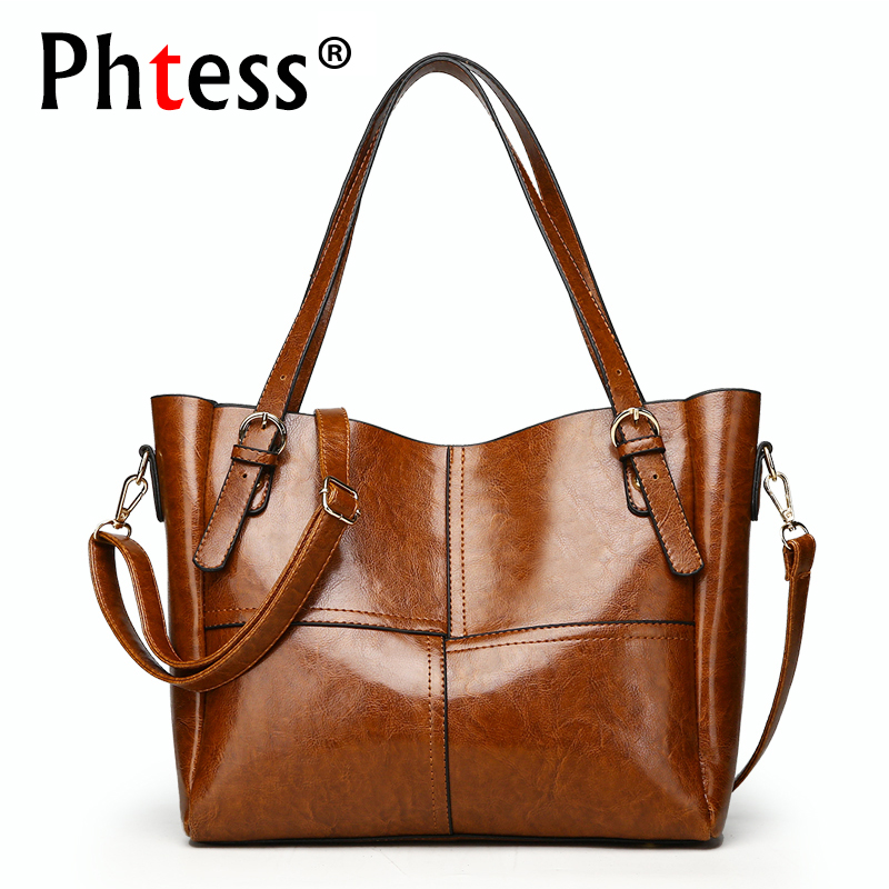 2018 New Luxury Handbags Women Bags Designer Brand Female Oil Wax Leather Large Apacity Tote Bags Female Shoulder Bag Sac a Main
