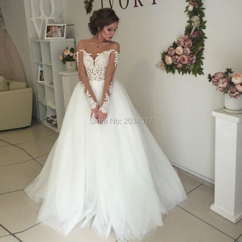 Korean Wedding Gowns: Vestido De Novia Korean Wedding Dress A Line Tulle Long