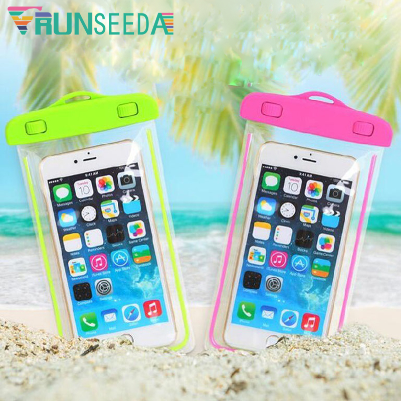 Runseeda Swimming Bag Waterproof Touch Screen Mobile Phone Storage Bag With Luminous Underwater Swimming Diving Smartphone Pouch
