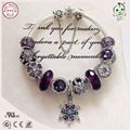 Best Quality Luxuxious And Nice Silver Jewelry Gift Noble Purple Silver Charm Series 925 Real Silver Snowflake Charms Bracelet